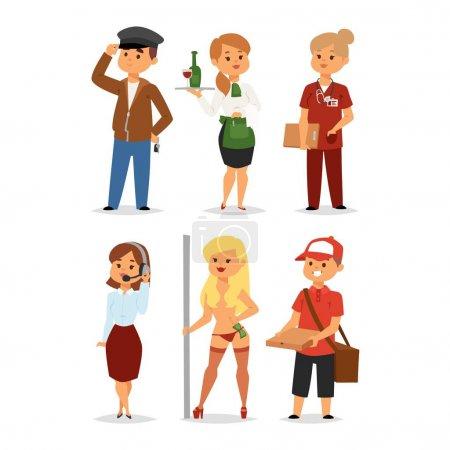 Photo pour Les professions humaines recrutent concept d'emploi chômeurs. Différentes professions ou temps de chômage. Travailleurs de recherche de carrière d'affaires opportunité à la recherche de personnages humains vectoriels . - image libre de droit