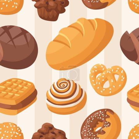 Illustration pour Modèle de boulangerie sans couture avec des beignets vitrés colorés. Nourriture de garniture festive au chocolat. Fond désert gâteau frais. Illustration vectorielle papier peint doux délicieux . - image libre de droit