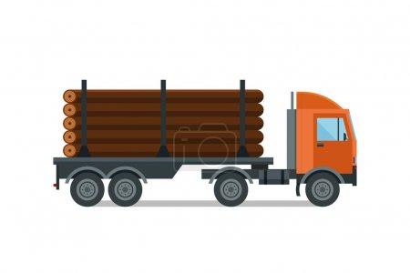 Illustration pour Chargement lourd camion de bois d'œuvre vecteur. Cargaison industrielle foresterie bois d'oeuvre remorque transport. Illustration de matériel d'expédition d'affaires en bois . - image libre de droit