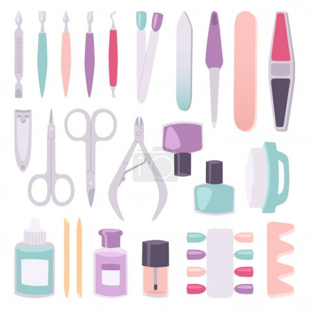 Manicure instruments vector set cartoon style isolated