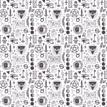 Illustration for Vector esoteric astrology symbols seamless pattern background - Royalty Free Image