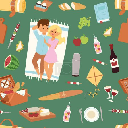 Illustration for Picnic setting with red wine glasses seamless pattern picnic hamper basket. Barbecue resting couple and icons. Summer meal party family people. Lunch garden character vector illustration. - Royalty Free Image