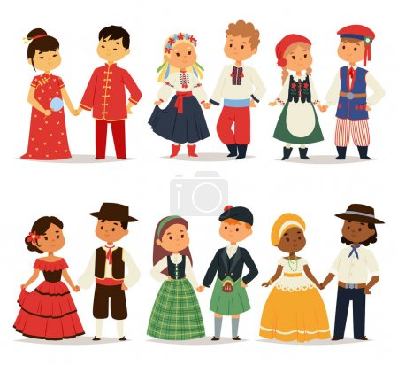 Illustration for Traditional kids couples character of world dress girls and boys in different national costumes and cute little children nationality dress vector illustration. Cultural friendship child ethnic group. - Royalty Free Image