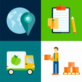 Import export fruits vector illustration