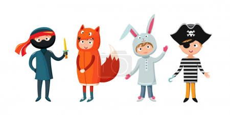 Illustration for Kids different costumes isolated vector illustration. Playful character spooky baby superhero ninja, rabbit and fox, pirate. Children party funny clothes. - Royalty Free Image