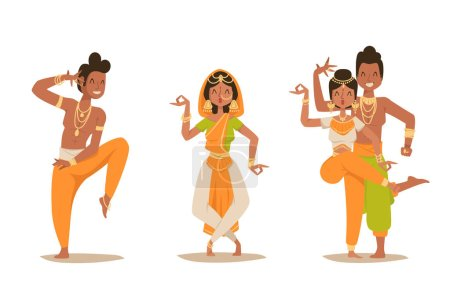 Indian woman man dancing vector isolated dancers silhouette icons people India dance show party movie, cinema cartoon beauty girl sari illustration