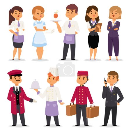 Hotel professions people workers happy receptionist standing at hotel counter and cute characters in uniform reservation entry service vector illustration.