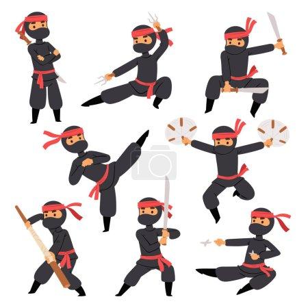 Illustration pour Différentes poses de ninja combattant en tissu noir personnage guerrier épée arme martiale homme japonais et karaté dessin animé personne action masque kick vecteur illustration. Combat traditionnel asiatique mâle . - image libre de droit