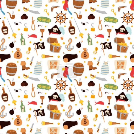Pirate stickers icons vector seamless pattern