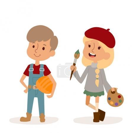 Cartoon profession kids children vector set illustration person childhood painter builder uniform worker character
