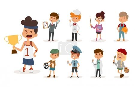 Photo pour Métiers de dessin animé enfants. Peintre, sportif, cuisinier chef, constructeur, policier, médecin, artiste, chauffeur, homme d'affaires Drôle de dessin animé garçons enfants Professions enfants enfants vecteur set illustration - image libre de droit