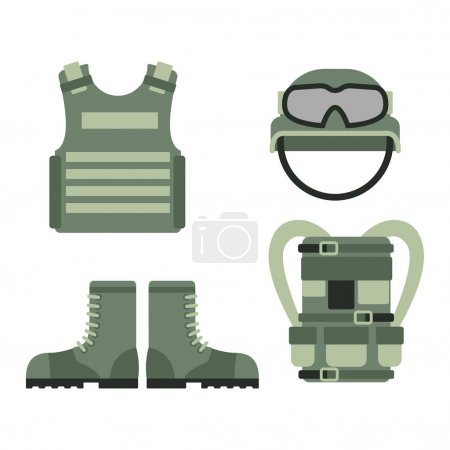 Military american fighter ammunition navy camouflage sign and weapon guns symbols armor set forces design vector illustration.