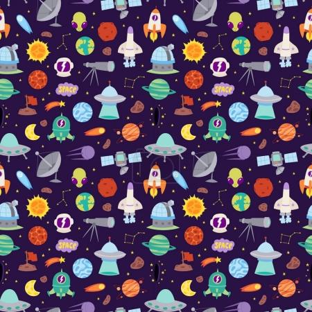 Illustration for Astronomy icons solar system stickers set. Cute cartoon planets and sun stickers for kids. Astronomy education set of stickers. Vector Illustration astrology space patches seamless pattern - Royalty Free Image