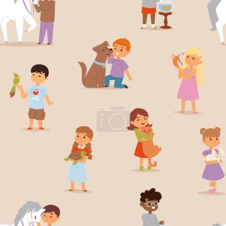 Toddler cartoon kids characters little pets friendship vector illustration seamless pattern