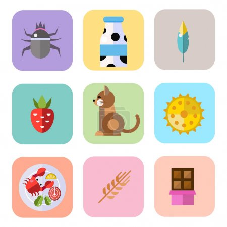 Allergy symbols disease healthcare tablets viruses and health flat label people with illness allergen symptoms disease information vector illustration.