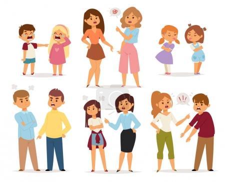 Kłócić się z kolekcja z kłótni ludzi w różnych sytuacjach w płaski i konflikt stres pary znaków wektor ilustracja.