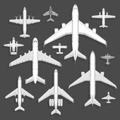 Vector airplanes icons top view vector illustration isolated on background Travel by airport flight vacation transport passenger plane Turbine voyage pilot plane jet
