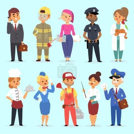 Photo pour Personnes différentes professions illustration vectorielle. Succès travail d'équipe diversité travail humain style de vie. Debout jeunes professions réussies policier, médecin, pompier, chef personnage en uniforme . - image libre de droit