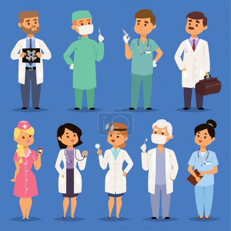 Illustration for Doctors vector male and female doctoral character portrait or professional medical worker physician or medic nurse in clinic illustration set of hospital staff isolated on background. - Royalty Free Image