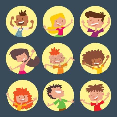 Illustration pour Enfants heureux dans différentes positions grand vecteur sautant joyeux groupe d'enfants et drôles de dessins animés enfants joyeuse équipe. rire peu de gens joie style de vie personnages . - image libre de droit