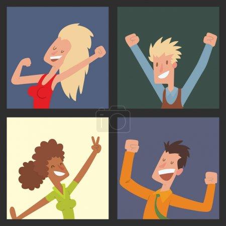 Illustration pour Les gens sautant dans la célébration fête illustration vectorielle heureux homme sauter célébration joie caractère. Femme joyeuse expression de bonheur actif de nombreux amis joyeux portrait . - image libre de droit