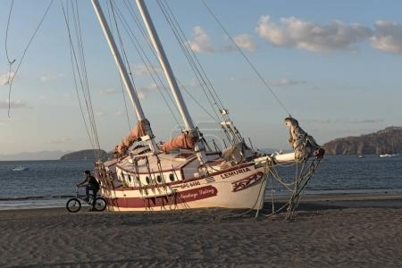 Stranded sailboat at the Playas del Coco in Costa Rica
