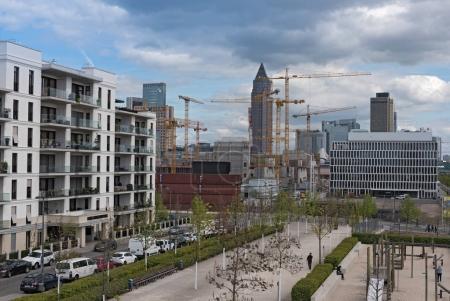 Construction site in a new district of Frankfurt, Europaviertel