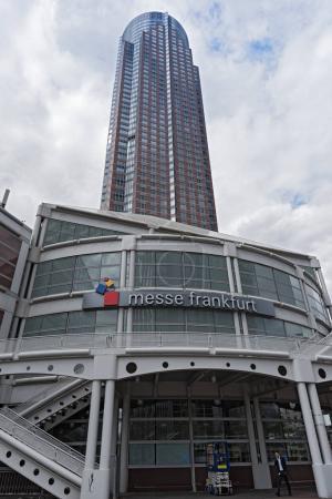 Entrance fairground Frankfurt with messeturm