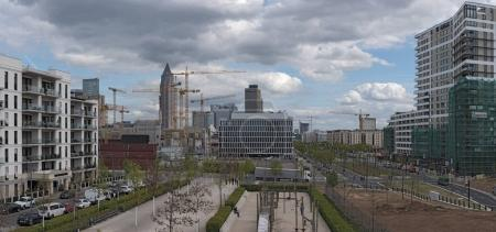 Construction site in a new district of Frankfurt Europaviertel