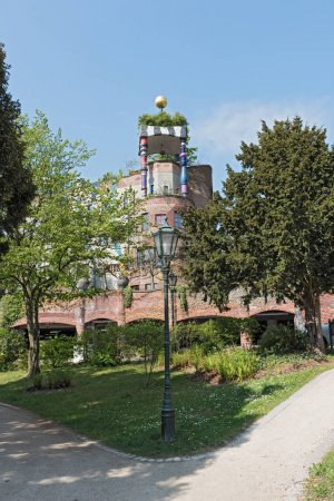 The view of Hundertwasser house in Bad Soden, Germany
