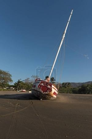 Stranded sailboat at the playa del coco in Costa Rica