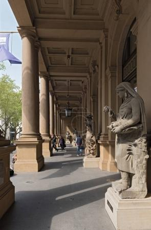 Sculptures in front of the entrance of the stock market in Frankfurt, Germany