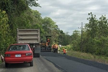 Roadworks on Route 32 in Costa Rica