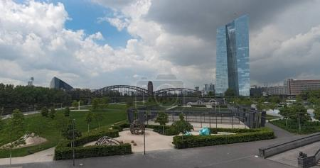 The new building of the European Central Bank in Frankfurt (Germany) with external facilities