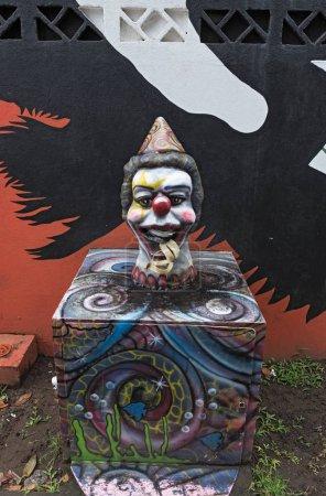 Waste bin in the form of a clown, Tortuguero, Costa Rica