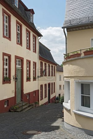 Small street in the old town of Weilburg on the Lahn, Hesse, Germany
