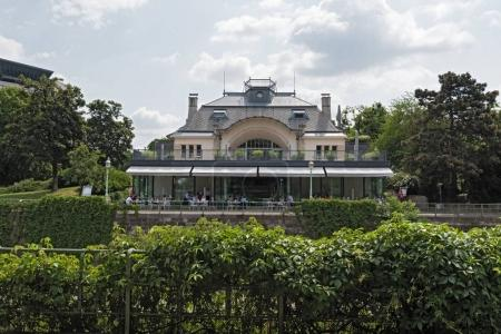 Restaurant in city park on the banks of the Vienna River, Vienna