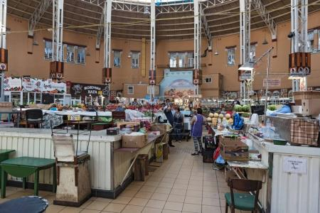 Sales booths in the Bessarabska market hall in Kiev, Ukraine