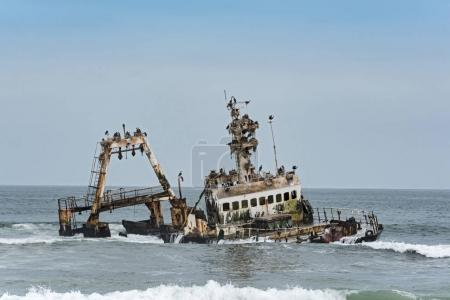 Shipwreck Zeila near Henties Bay on the Skeleton Coast of Namibia