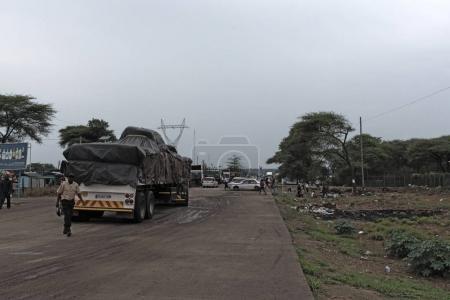 KAZUNGULA, ZAMBIA-NOVEMBER 20, 2017: Ferry terminal and cross-border Kazungula at the Zambezi River in Zambia