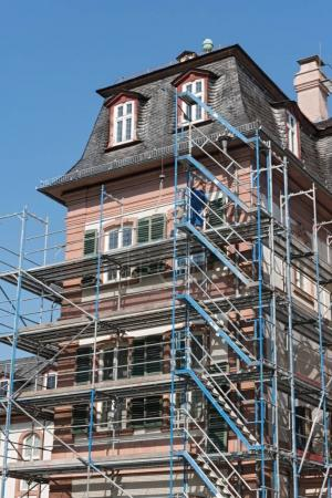 FRANKFURT, GERMANY-AUGUST 28, 2017: Detailed picture of a castle renovation with scaffolding framework