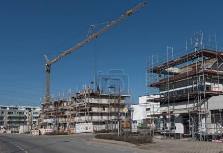 FRANKFURT, GERMANY-FEBRUARY 14, 2018: Construction site of several residential buildings in the new district of Riedberg