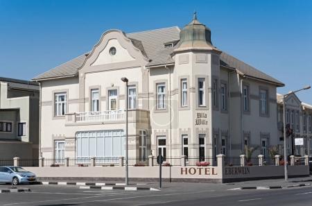 SWAKOPMUND, NAMIBIA-NOVEMBER 10, 2017: The restored 100 year old Hotel Eberwein in Swakopmund