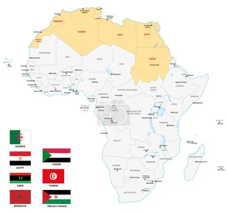 northern africa map with flags