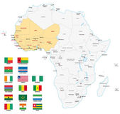 Western africa administrative map with flags