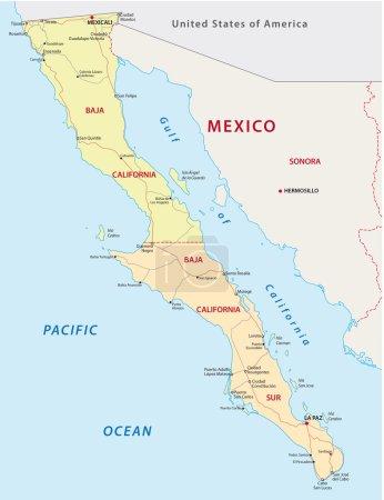 Illustration pour Baja californie carte routière et administrative - image libre de droit