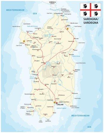 Road map of the italian mediterranean island sardinia with flag