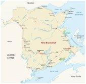 Road map of the canada atlantic province new brunswick