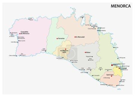 Carte administrative et politique des Baléares espagnols Islande de Minorque