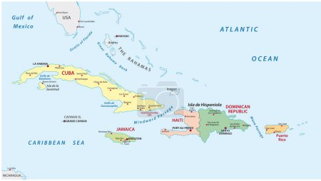 Political and administrative map of the lesser antilles